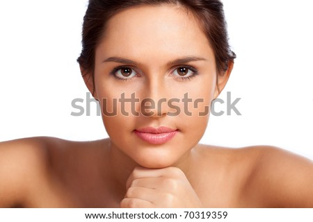 beautiful woman closeup portrait over white