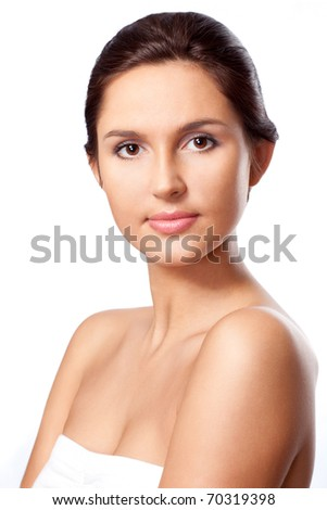 beautiful woman closeup portrait over white - stock photo