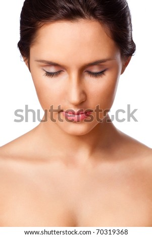 beautiful woman closeup portrait with closed eyes over white - stock photo