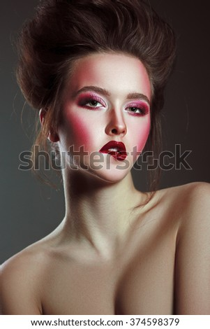 Beautiful Woman Closeup Portrait with Creative Fashion Art Makeup. Perfect Skin. Sensual Expression. - stock photo