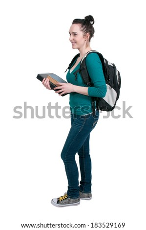 Beautiful woman college student with a backpack or book bag and tablet