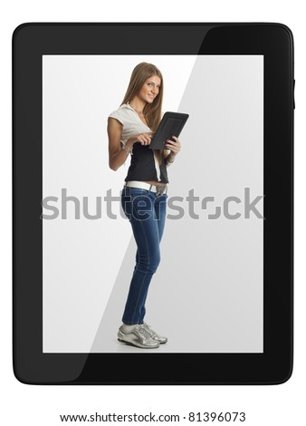 Beautiful Woman Communicate With Tablet Computer, isolate on white - stock photo