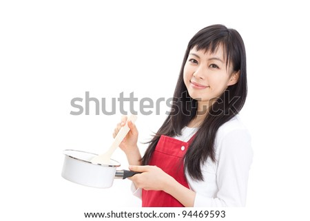 beautiful woman cooking isolated on white background - stock photo