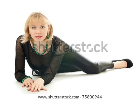 Beautiful woman creeps on a white background - stock photo