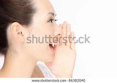 Beautiful woman cry Profile - stock photo