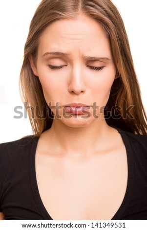 Beautiful woman disappointed - stock photo