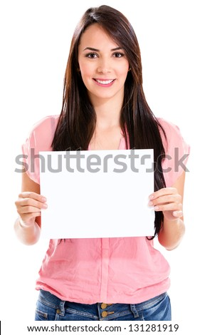 Beautiful woman displaying a banner - isolated over a white background