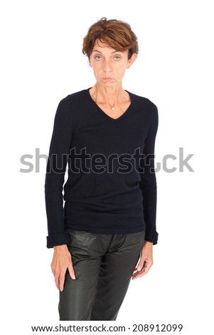 Beautiful woman doing different expressions in different sets of clothes: bad news - stock photo