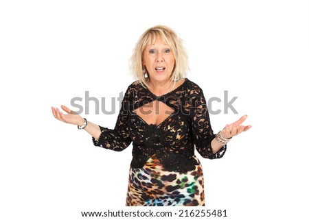 Beautiful woman doing different expressions in different sets of clothes: good surprise - stock photo