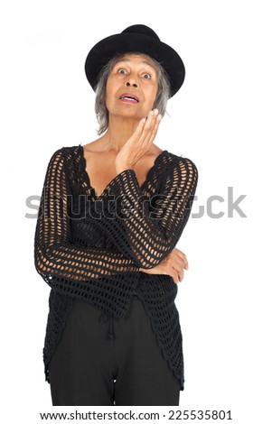 Beautiful woman doing different expressions in different sets of clothes: idea - stock photo