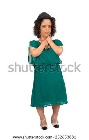 Beautiful woman doing different expressions in different sets of clothes: innocent - stock photo