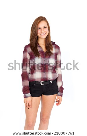 Beautiful woman doing different expressions in different sets of clothes: laughing - stock photo