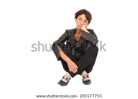Beautiful woman doing different expressions in different sets of clothes: posing