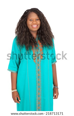 Beautiful woman doing different expressions in different sets of clothes: smiling - stock photo