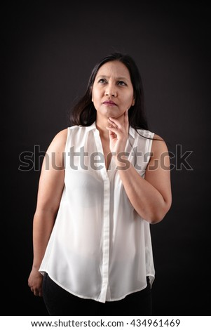 Beautiful woman doing different expressions in different sets of clothes: thinking - stock photo