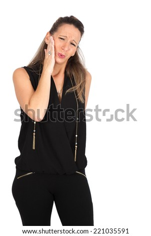 Beautiful woman doing different expressions in different sets of clothes: toothache
