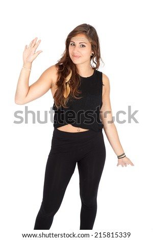 Beautiful woman doing different expressions in different sets of clothes: waving