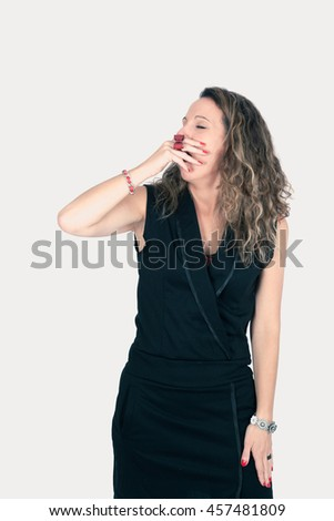 Beautiful woman doing different expressions in different sets of clothes yawn