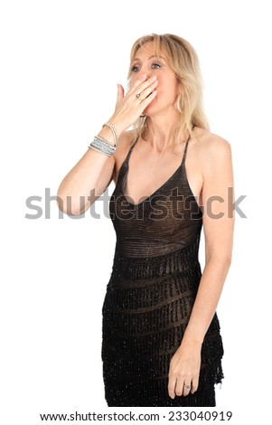 Beautiful woman doing different expressions in different sets of clothes: yawning