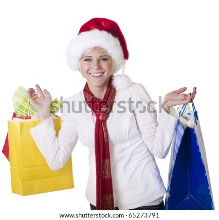 Beautiful Woman Doing her Christmas Shopping - stock photo
