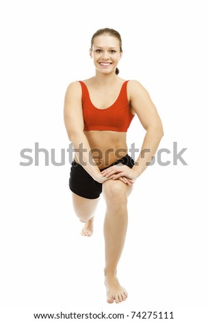 beautiful woman doing stretching exercise, isolated on white background.
