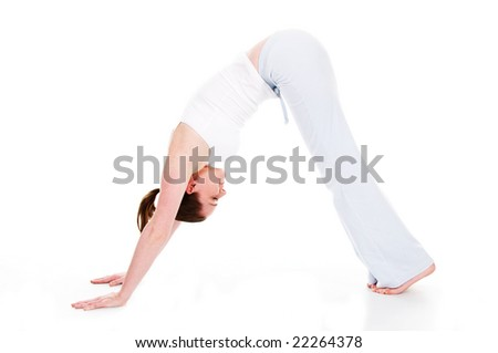 Beautiful woman doing yoga on isolated white background