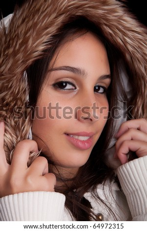 beautiful woman dressed for winter, isolated