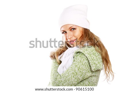 beautiful woman dressed for winter isolated on white background - stock photo