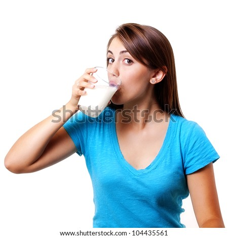 beautiful woman drinking a cold glass of milk