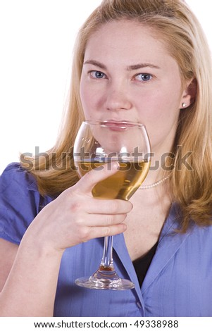 Beautiful Woman Drinking Wine Looking at the Camera