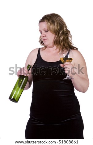 Beautiful Woman Drinking Wine Up on an Isolated Background