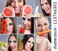 Beautiful woman eating different kind of fruit,  Healthy food collage - stock photo
