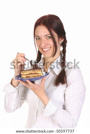 Beautiful woman eating piece of cake on white background - stock photo