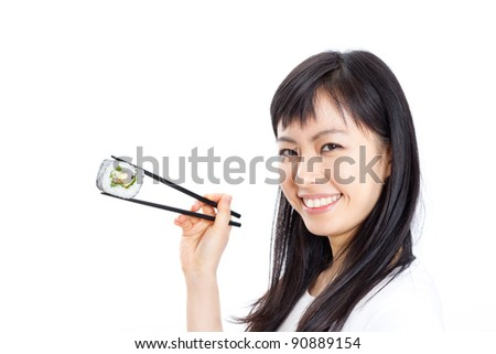 beautiful woman eating sushi with chopsticks, isolated on white background