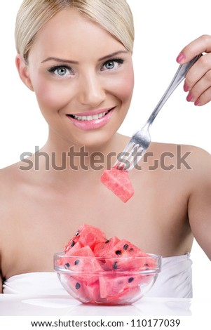 Beautiful woman eating watermelon-sweet tasty summer - stock photo