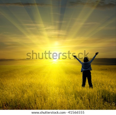 beautiful woman enjoy in meadow - stock photo
