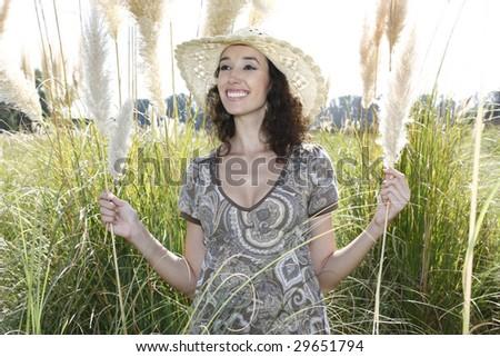 beautiful woman enjoying the outdoors - stock photo