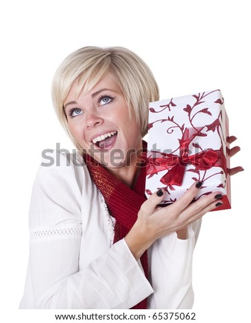 Beautiful Woman Excited about Her Christmas Present isolated on white - stock photo