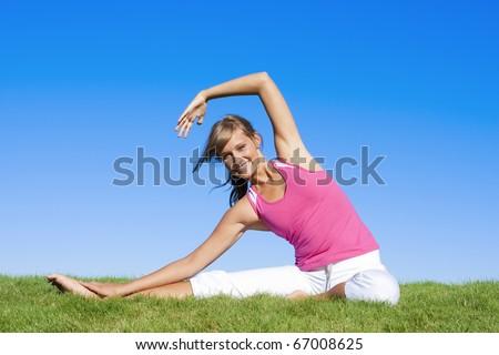 Beautiful Woman Exercising - stock photo