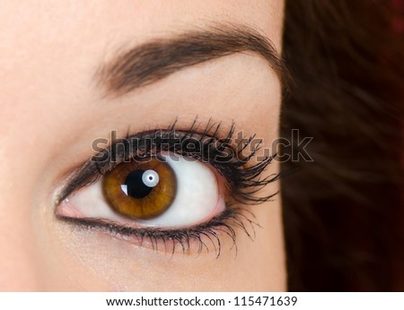 Beautiful woman eye close up - stock photo