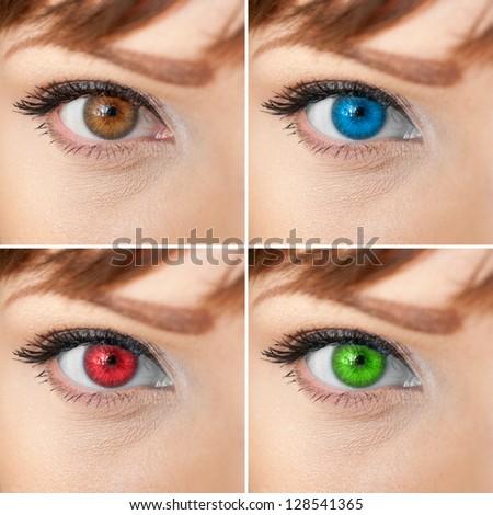 Beautiful woman eye collage - stock photo