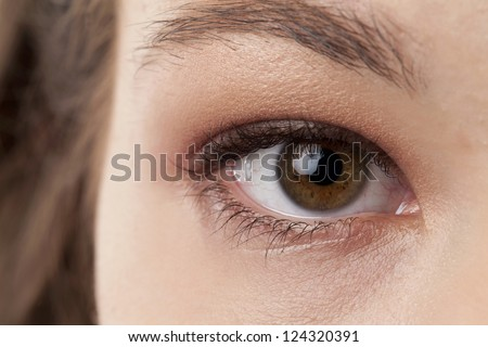 Beautiful woman eye in a cropped image