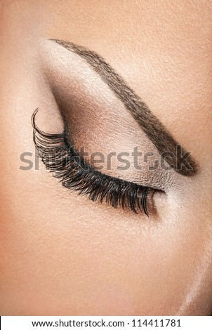 Beautiful woman eye macro beauty. Close-up