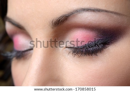 Beautiful woman eyes make-up