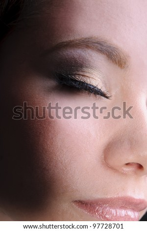 beautiful woman eyes make-up macro shoot eyes closed - stock photo