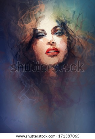 Beautiful woman face. abstract background
