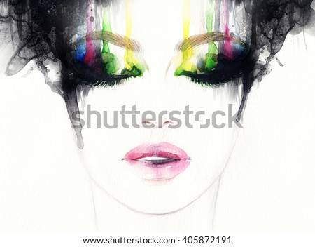 Beautiful woman face. Abstract fashion watercolor illustration - stock photo