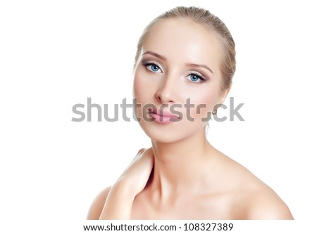 beautiful woman face and shoulders over white