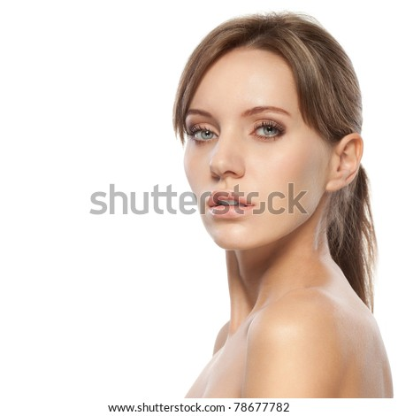 beautiful woman face and shoulders over white - stock photo