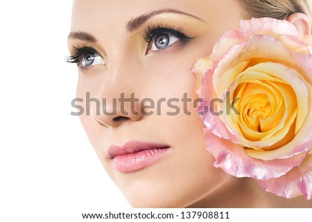 beautiful woman face and tender rose - stock photo